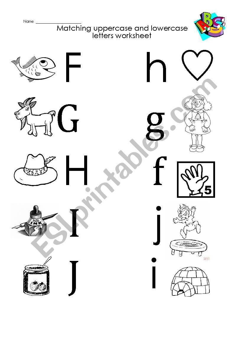 Uppercase and Lowercase Worksheets F to I Uppercase and Lowercase Letters Matching Esl