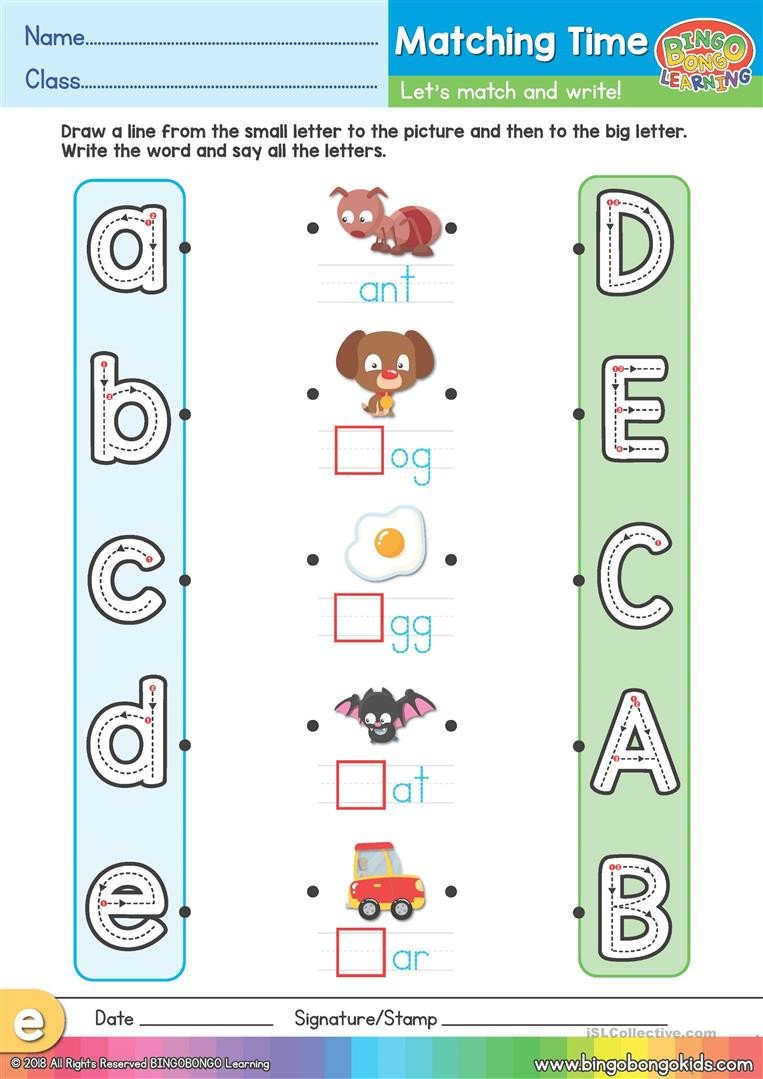 Uppercase and Lowercase Worksheets Phonics Matching Time Worksheet Uppercase & Lowercase A E