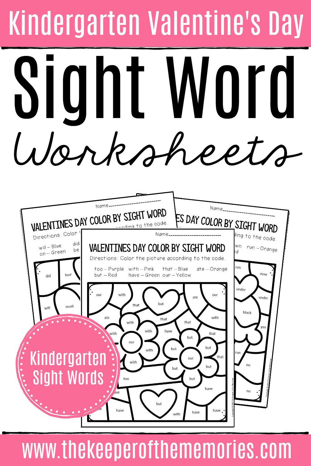 Color by Sight Word Valentines Day Kindergarten Worksheets 2