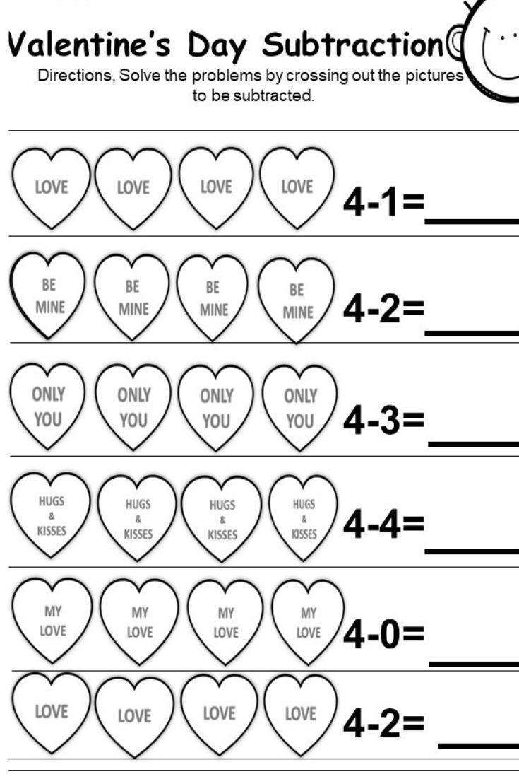 These are free Valentine s Day subtraction printables for
