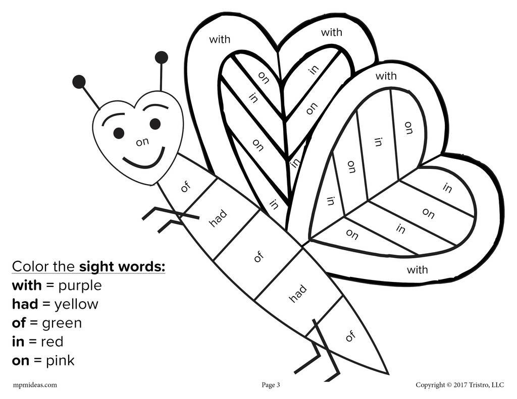 valentines day color by sight word 4 free printable worksheets a7464