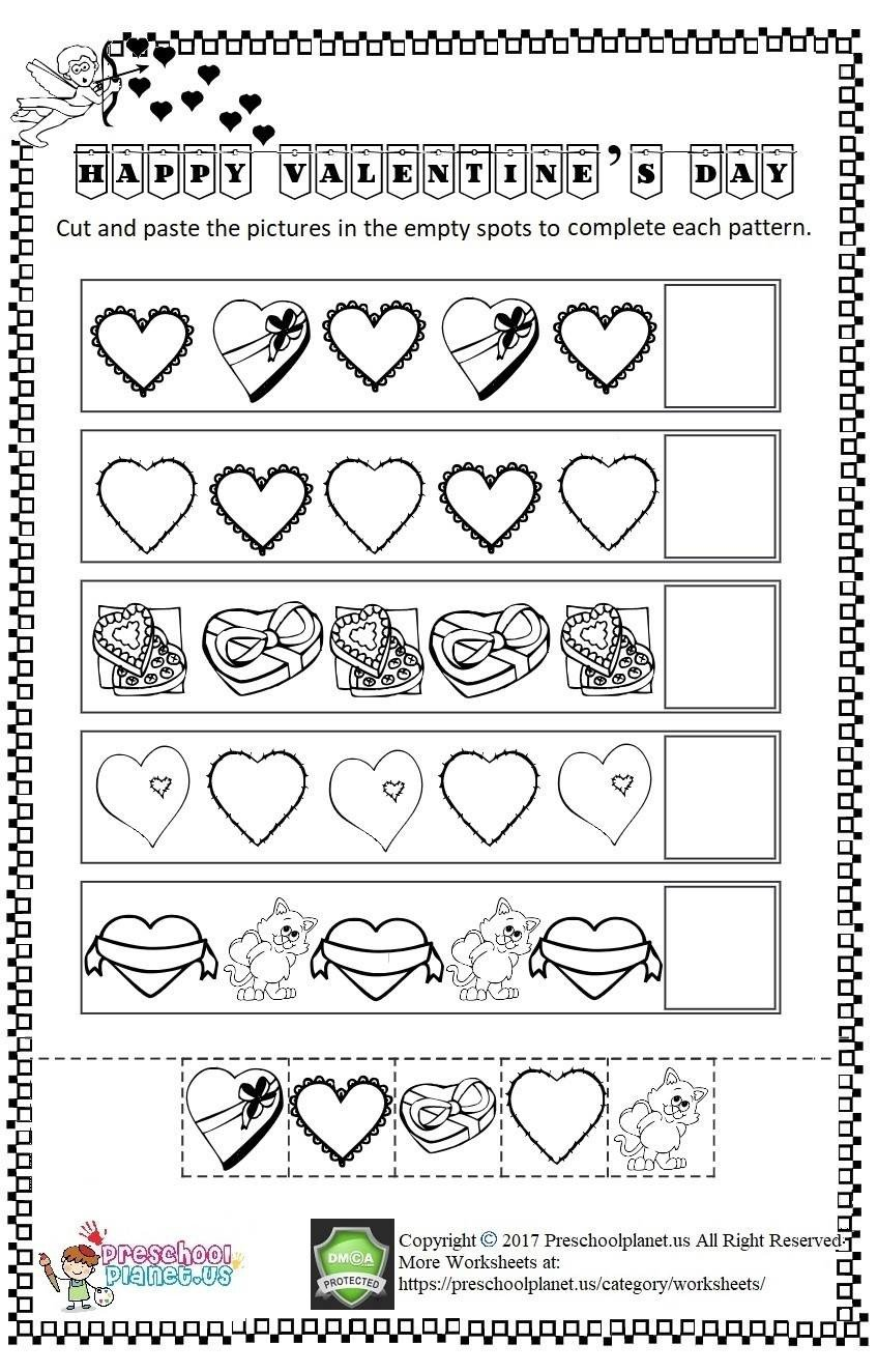 valentines day cut and paste worksheet