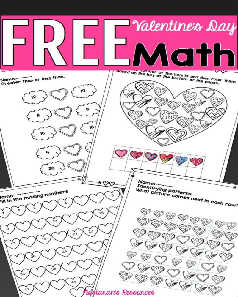 Valentine Math Worksheets for Kindergarten Free Printable Valentine Math Worksheets for Kindergarten