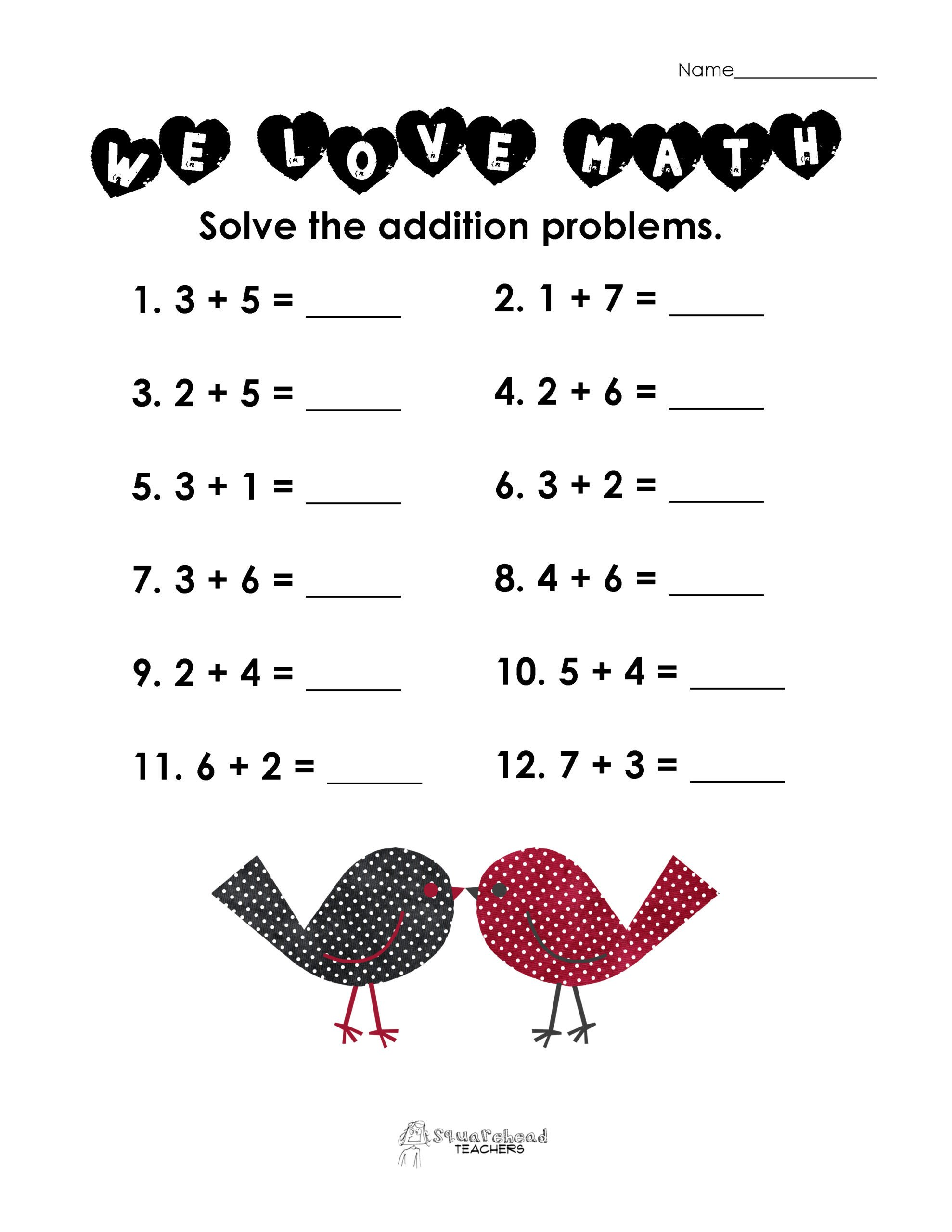 Valentine Math Worksheets for Kindergarten Valentine Math Simple Addition Worksheet Squarehead Teachers