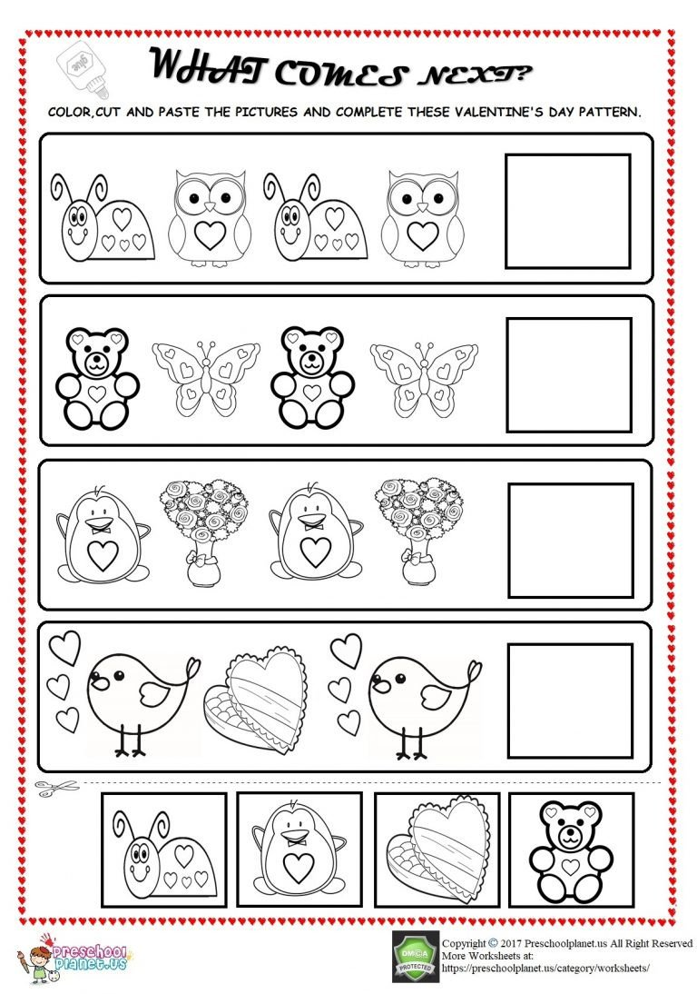 Valentine Math Worksheets for Kindergarten Valentine S Day Pattern Worksheet for Kids – Preschoolplanet