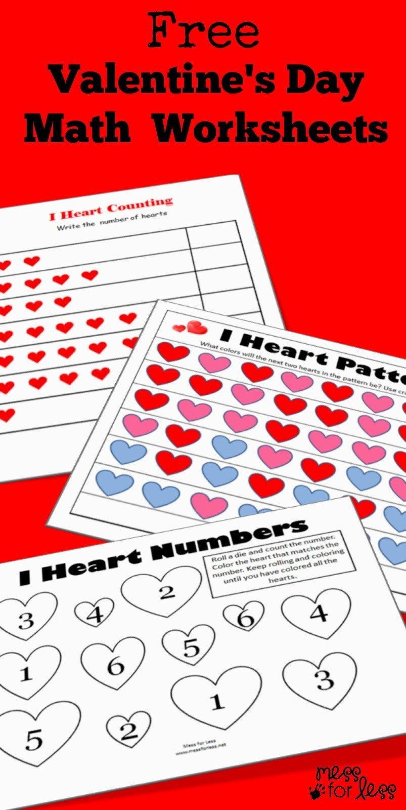 Valentine Math Worksheets for Kindergarten Valentine S Math Kindergarten Worksheets Mess for Less