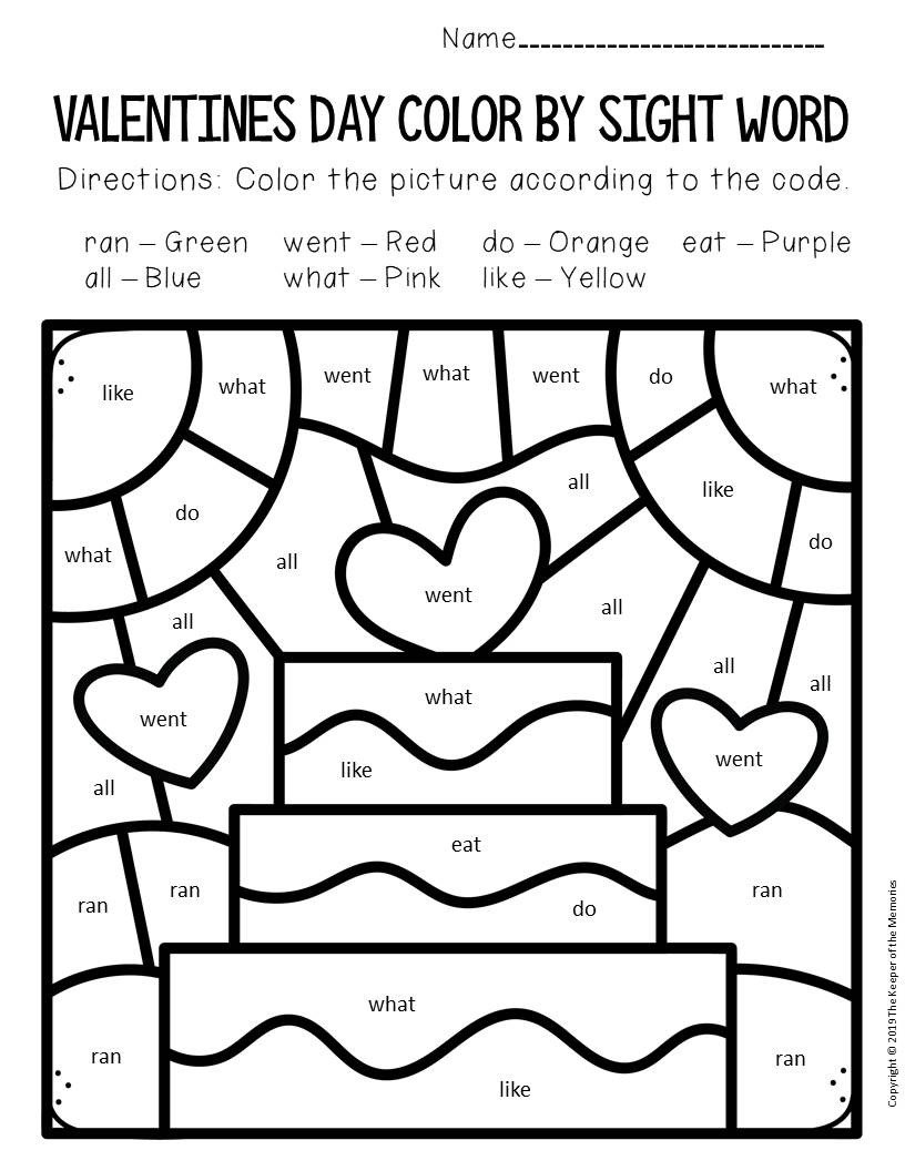 Color by Sight Word Valentines Day Kindergarten Worksheets Cake
