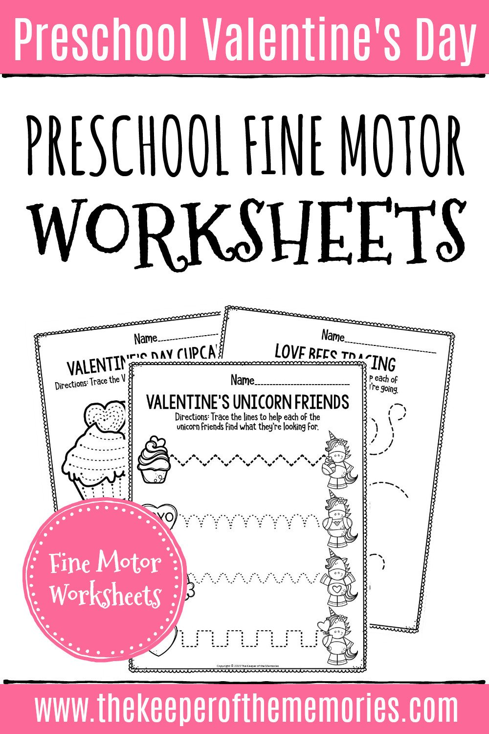Valentines Day Fine Motor Preschool Worksheets