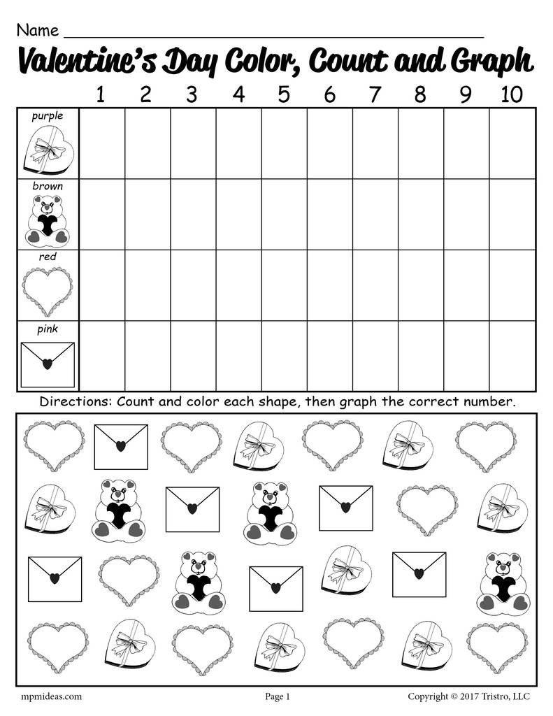 Valentines Day Kindergarten Worksheets Printable Valentine S Day Color Count and Graph Worksheet