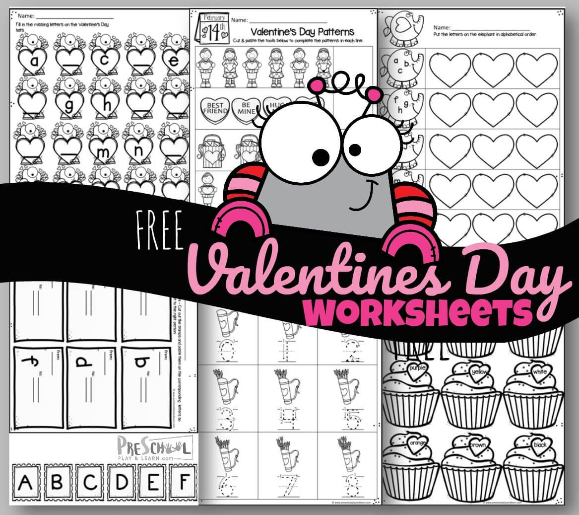 Valentines Day Kindergarten Worksheets tons Of Free Valentines Day Worksheets