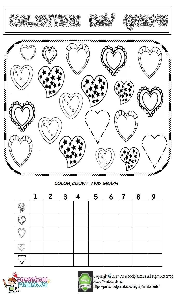 Valentines Day Kindergarten Worksheets Valentine Day Graph Worksheet