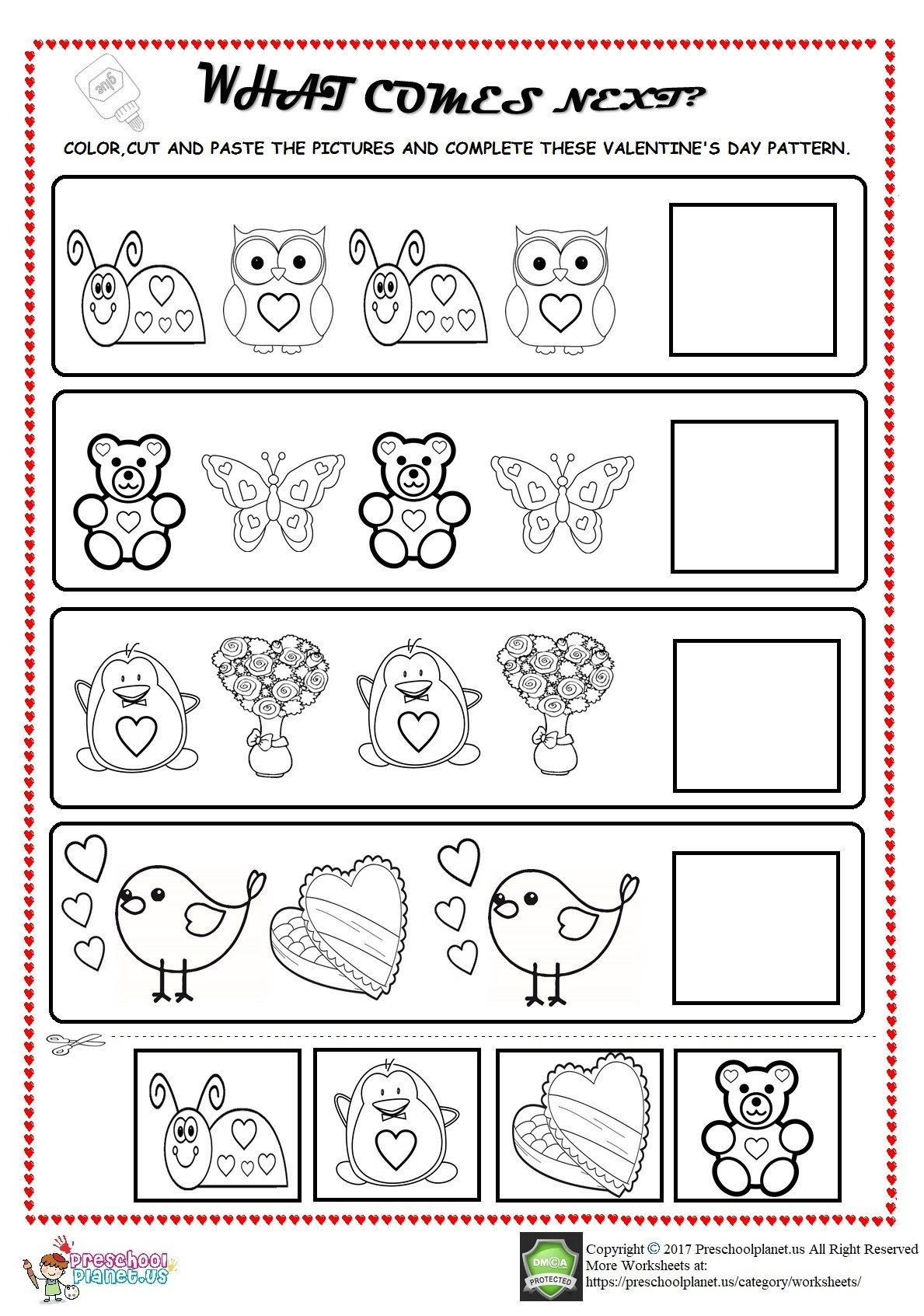 valentines day pattern worksheet for kids