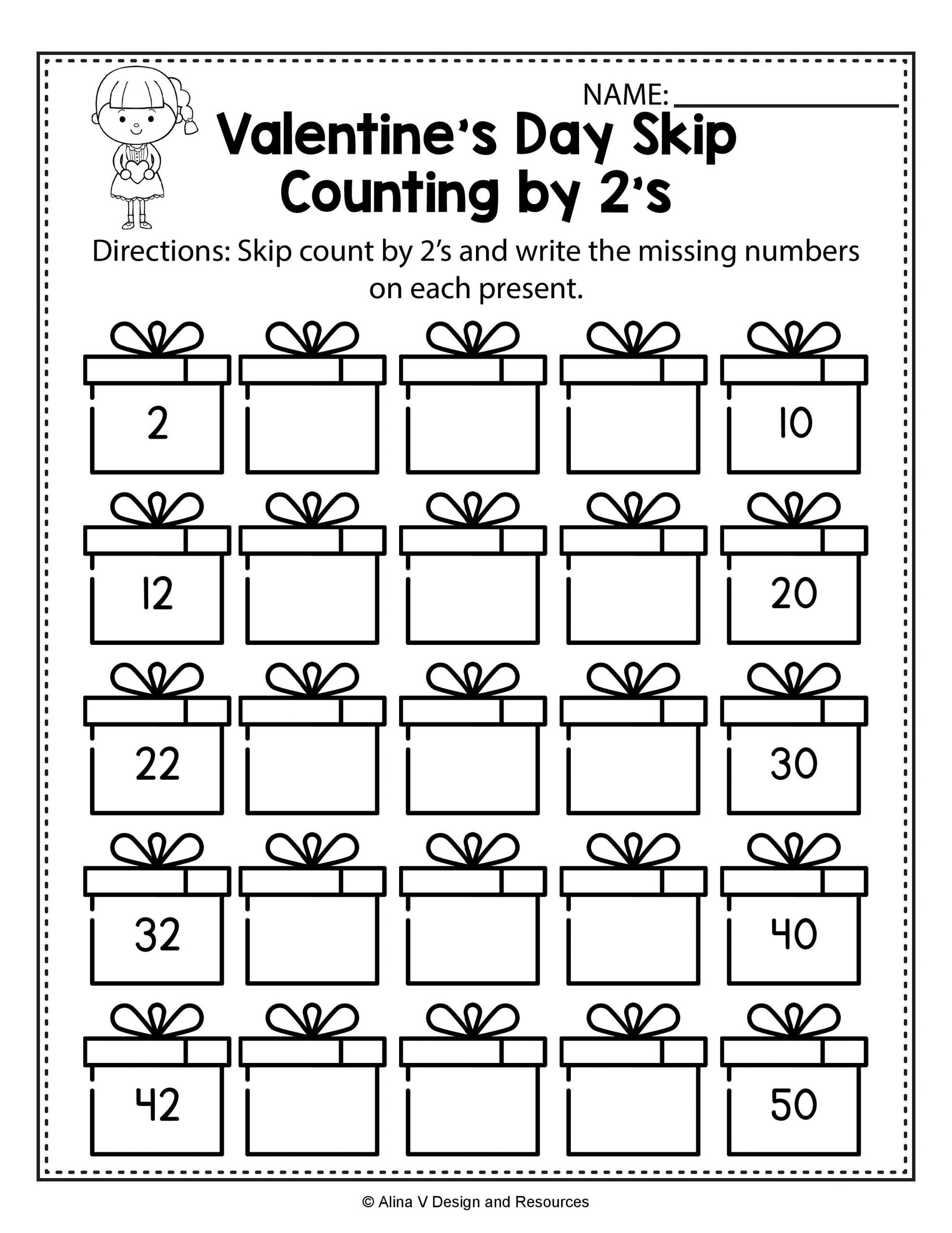 Valentines Day Kindergarten Worksheets Valentine S Day Skip Count by 2 S Math Worksheets and