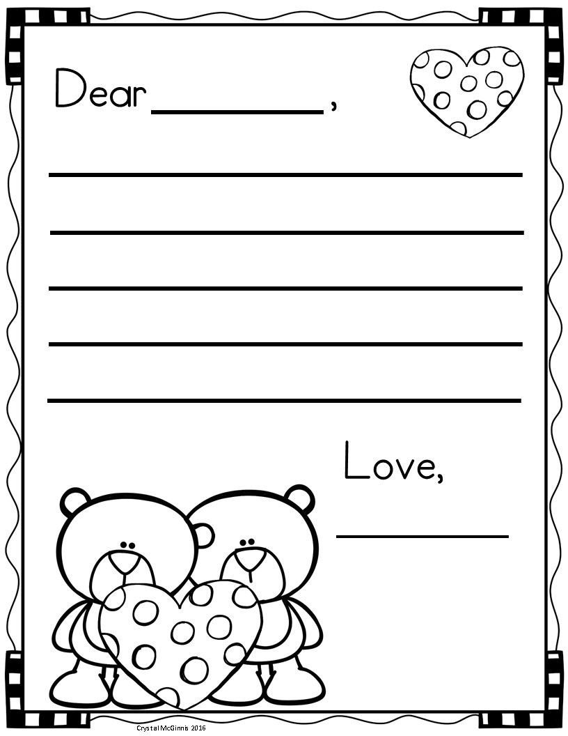 Valentines Day Worksheets for Kindergarten Free Letter Writing Templates for Valentine S Day
