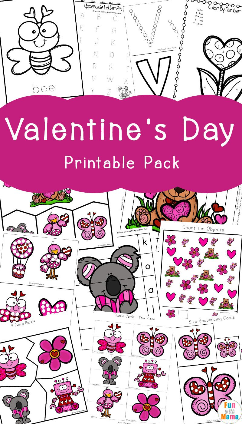 Valentines Day Worksheets for Kindergarten Valentine S Day Printables Pack Fun with Mama