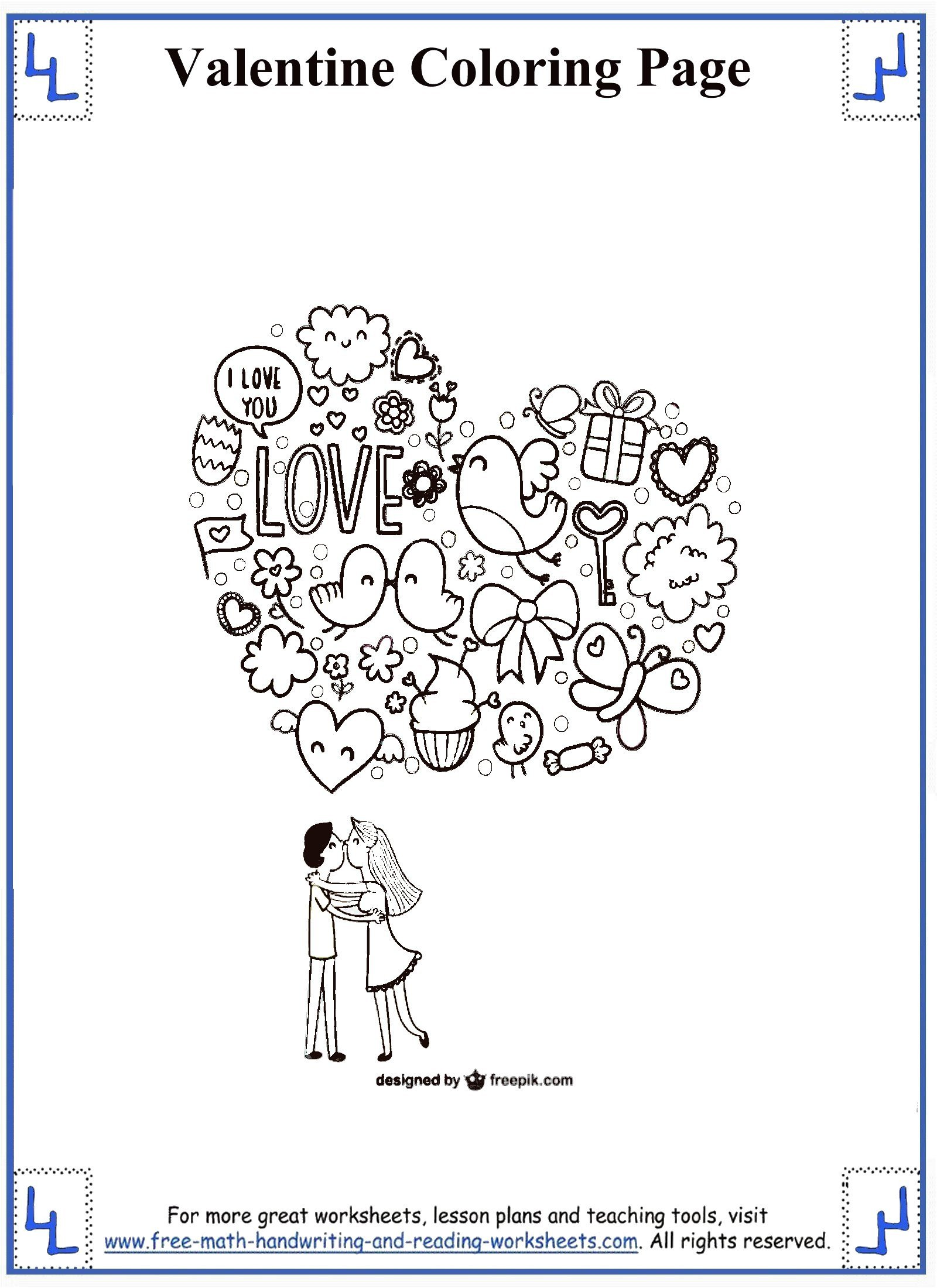 Valentines Day Worksheets for Kindergarten Valentines Day Coloring Pages
