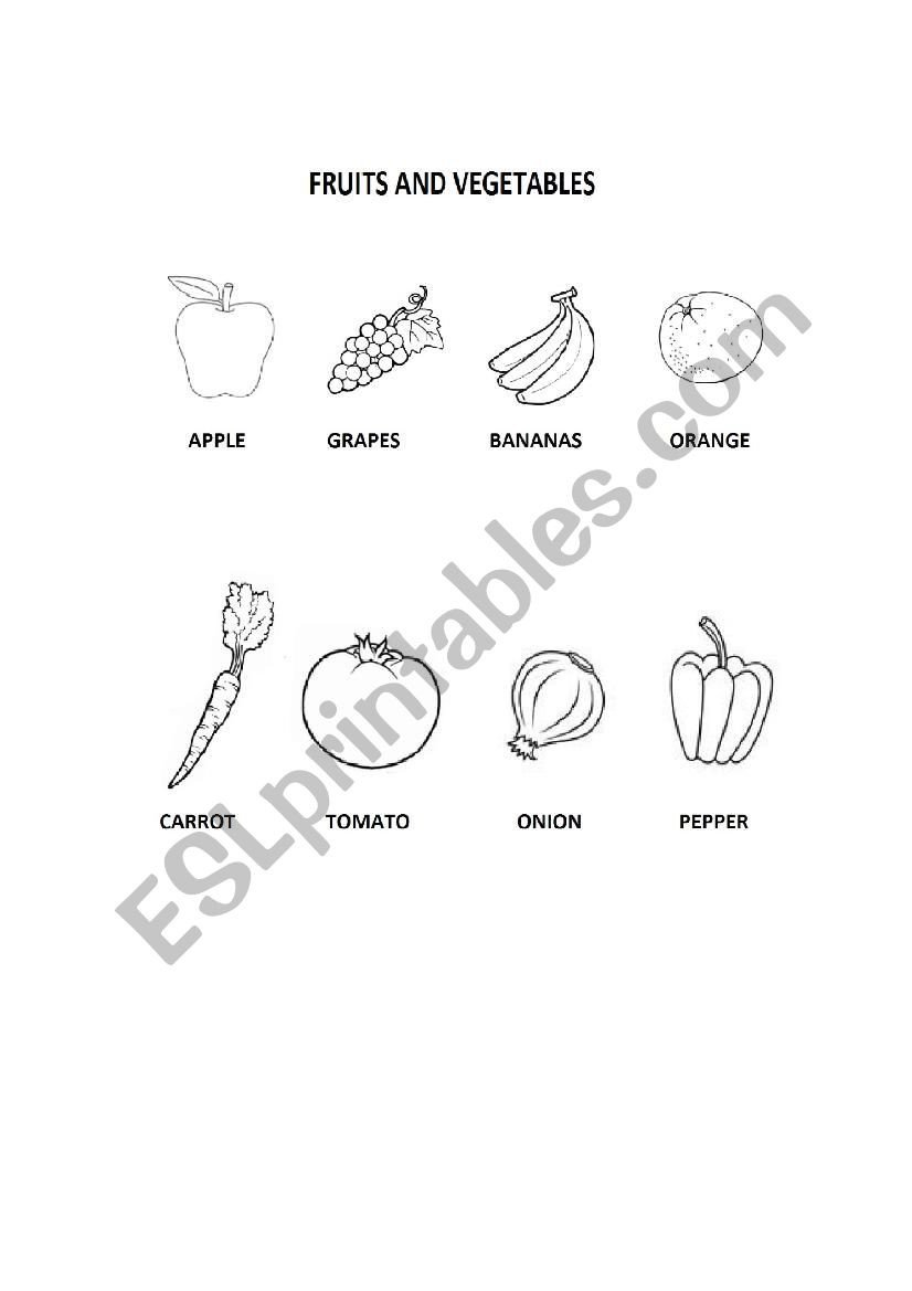 Fruits and ve ables coloring