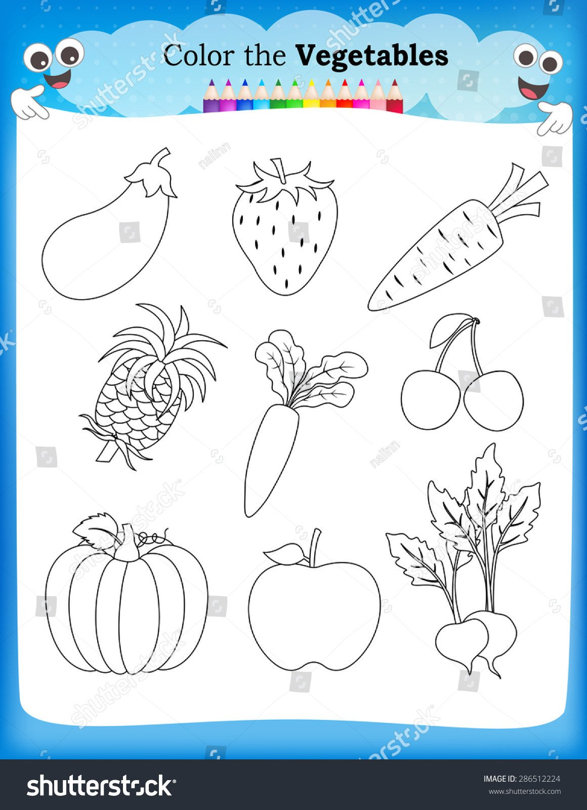 stock vector kids worksheet with fruits and ve ables