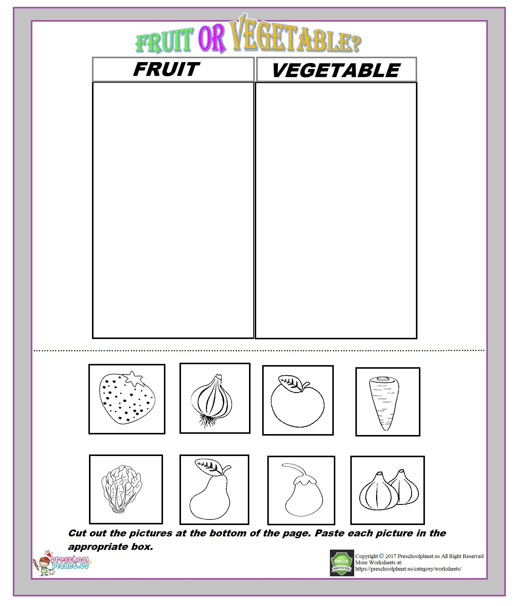 Fruit or Ve able Worksheet – Preschoolplanet