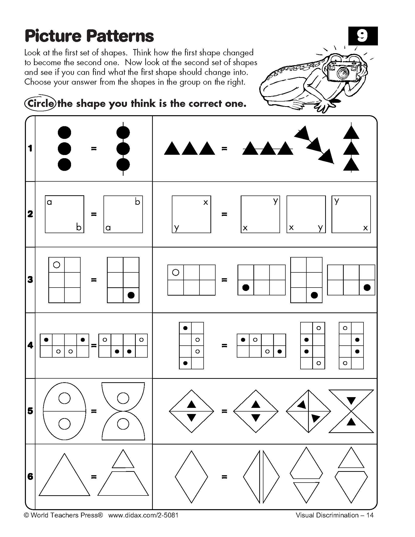 Visual Discrimination Worksheets for Adults Visual Discrimination Exploring and solving Picture Patterns