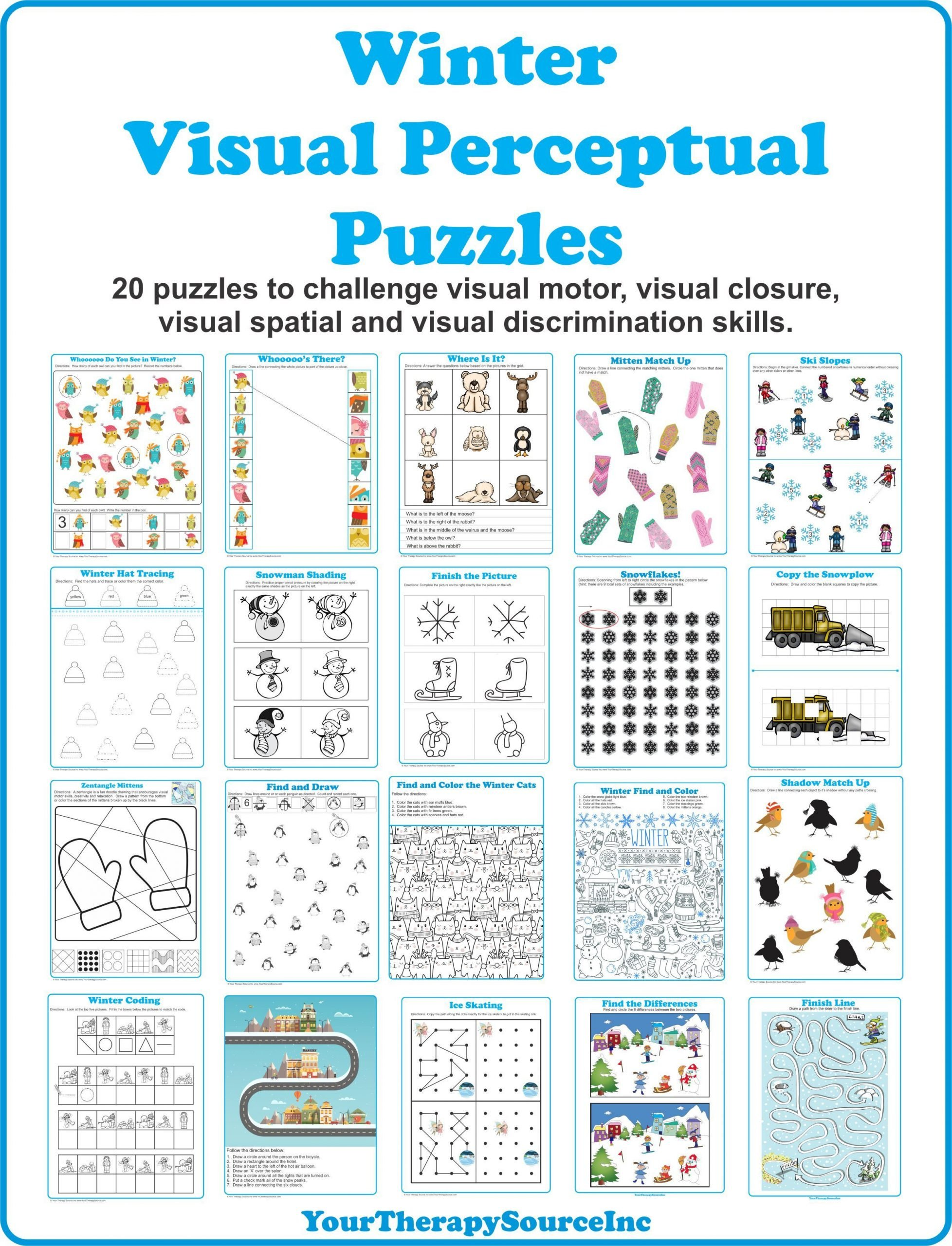 Visual Discrimination Worksheets for Adults Winter Visual Perceptual Puzzles Your therapy source