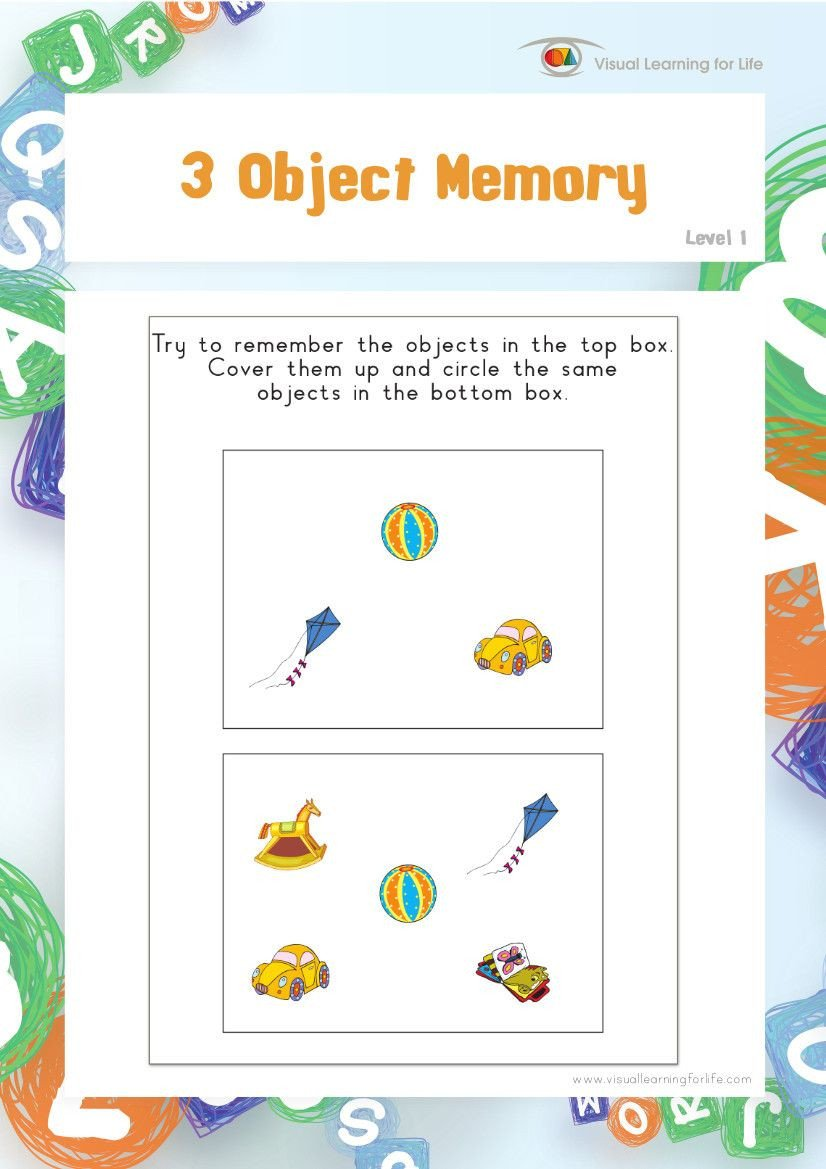 Visual Memory Worksheets 3 Object Memory Teach In A Box