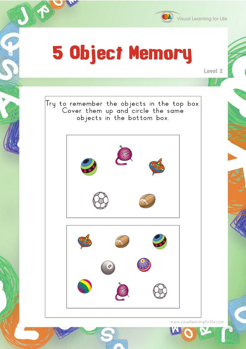 Visual Memory Worksheets 5 Object Memory Teach In A Box