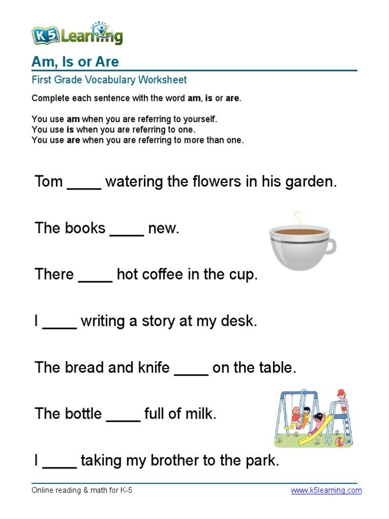 Vocabulary Worksheets for 1st Graders 1st Grade Am is are Sentences 1 Pdf
