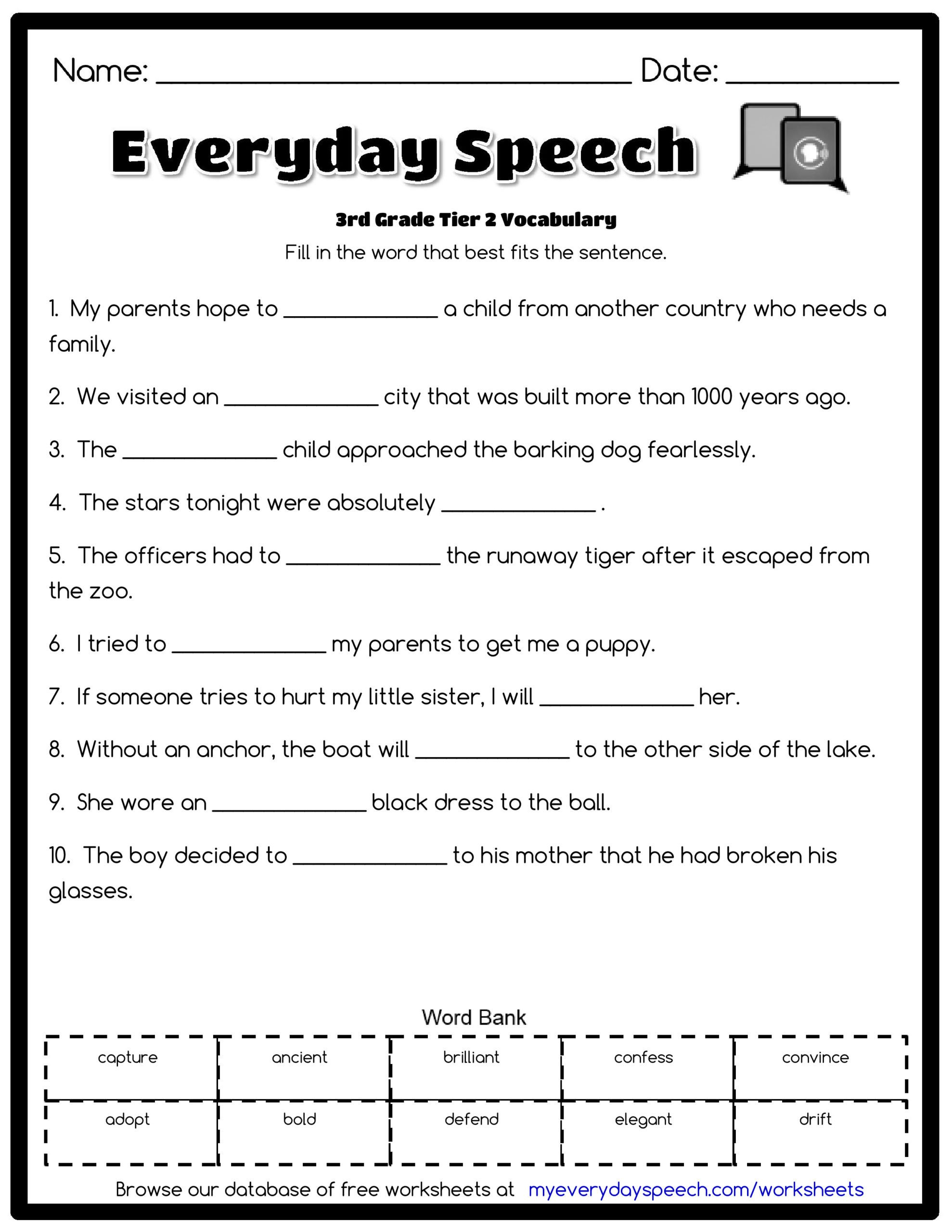 Vocabulary Worksheets for 1st Graders 3rd Grade Vocabulary Worksheets for Not An Integer Math