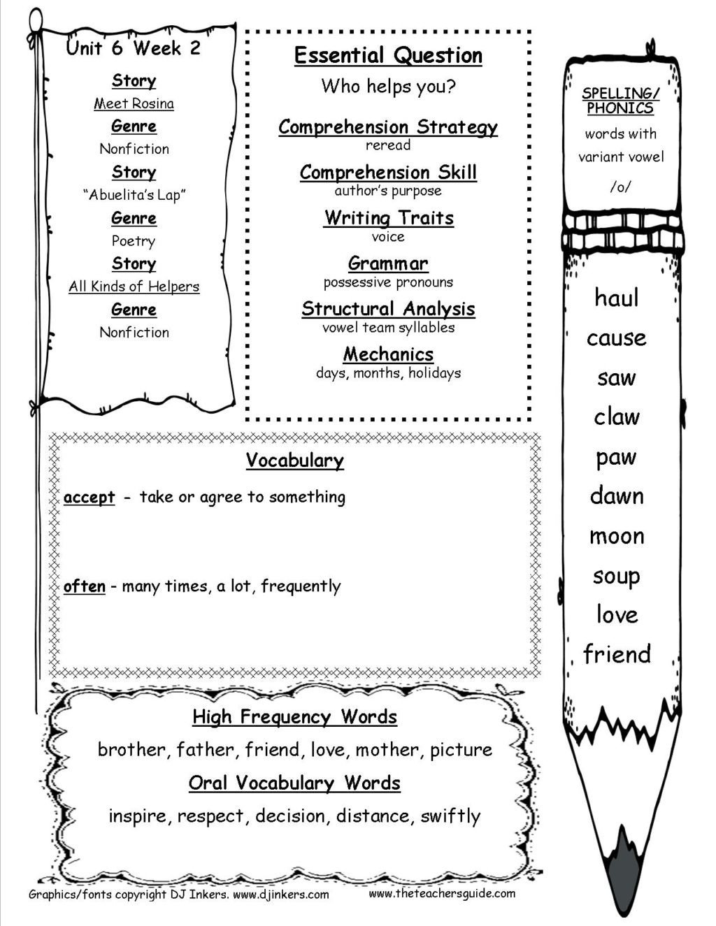 unitsixweektwottg english worksheetsr 1st grade worksheet vocabulary barka tremendous free printable 1024x1325