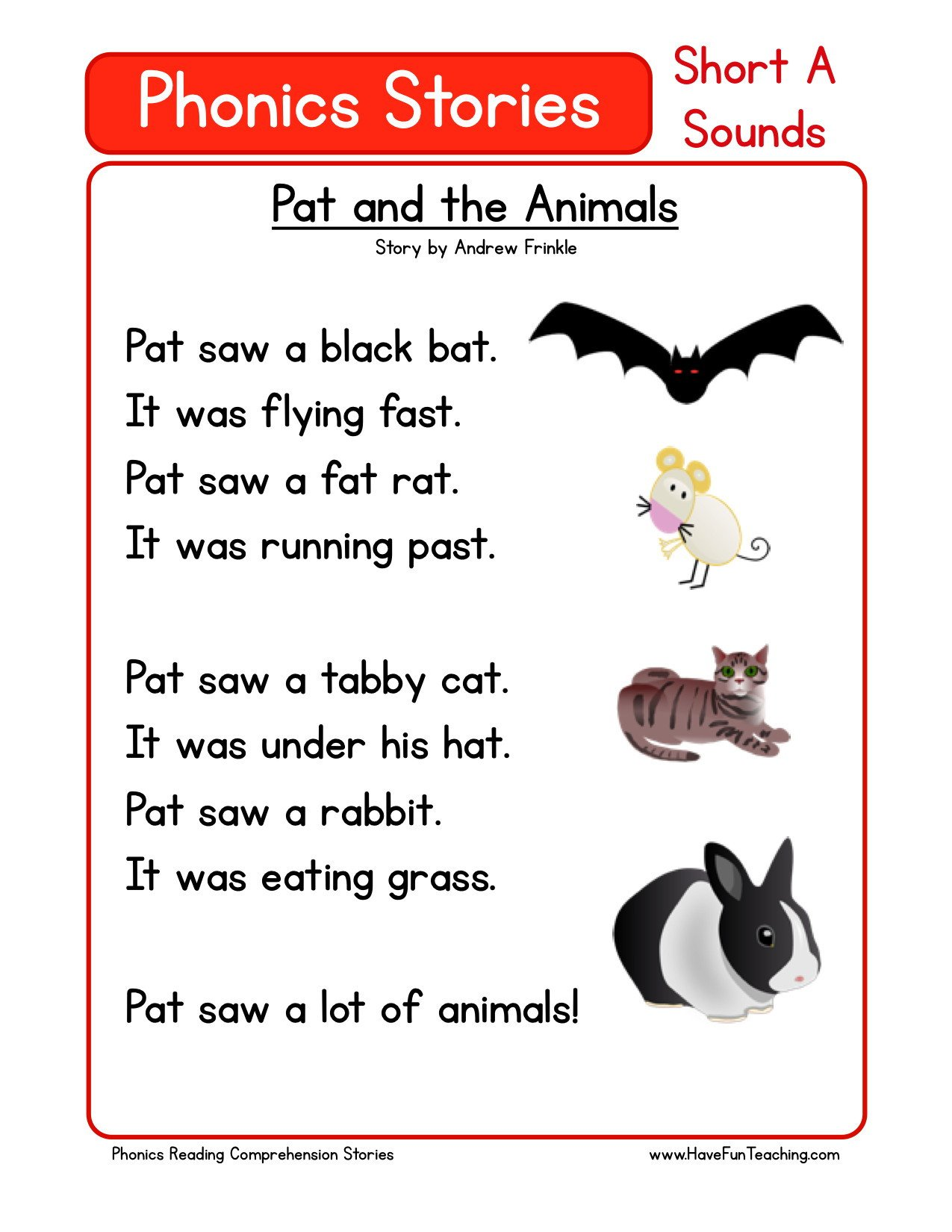 Volcano Reading Comprehension Worksheets Reading Prehension Worksheet Pat and the Animals