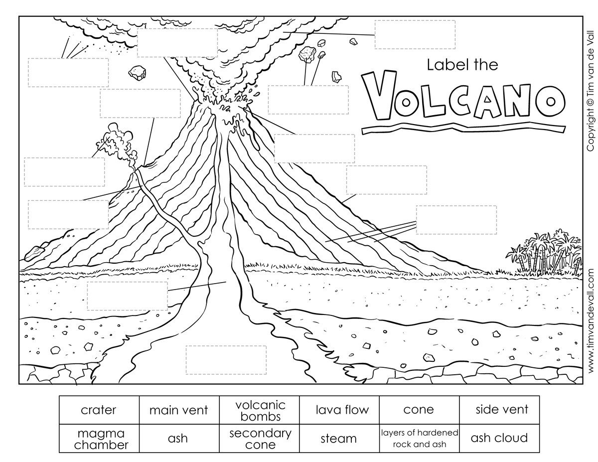 Volcano Worksheet for Kids Printable Volcano Diagram Label the Volcano Worksheet for Kids