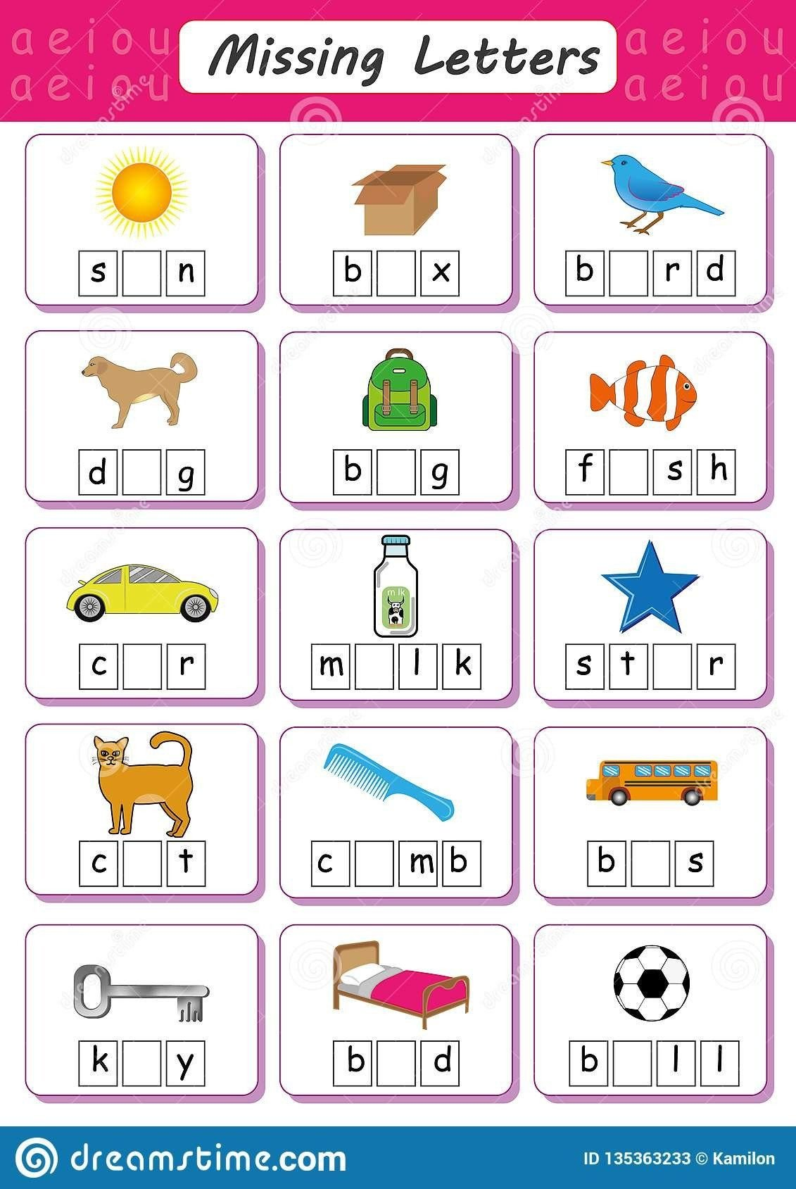 Vowel Worksheets for Kindergarten Missing Letters Worksheets for Kindergarten Write Missing