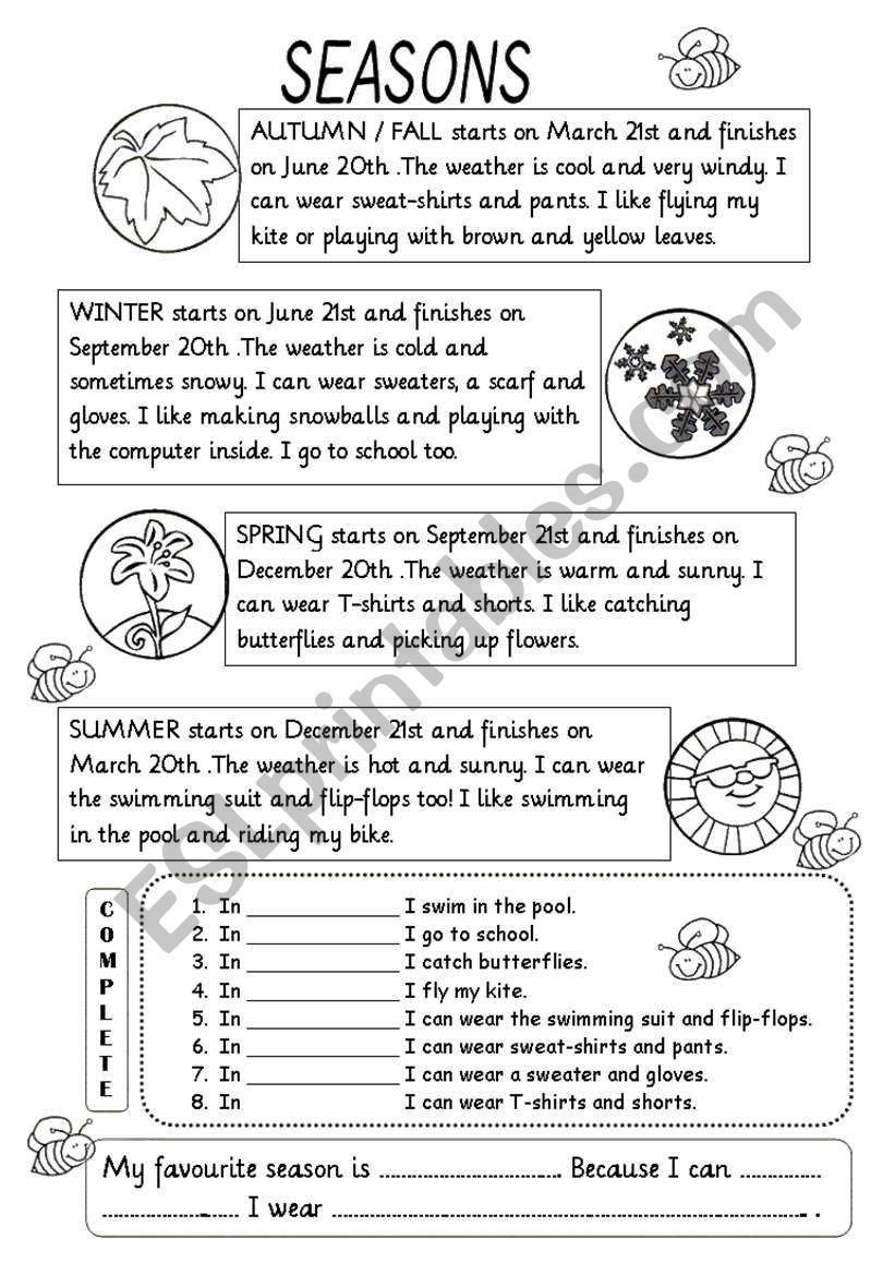 Weather Worksheets for 2nd Graders Seasons Worksheet 2nd Grade