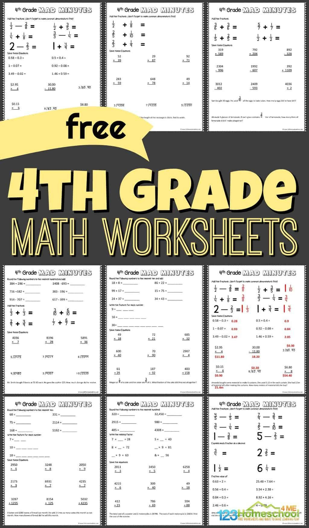 Word form Worksheets 4th Grade Free 4th Grade Math Worksheets
