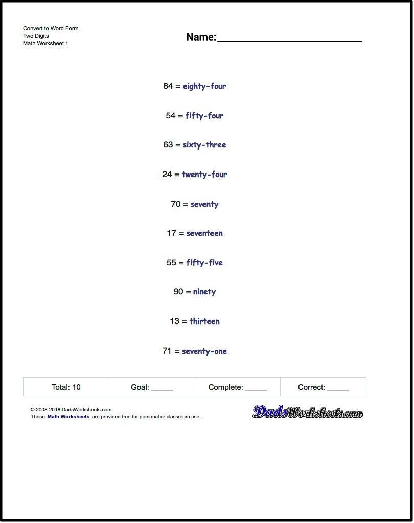 Word form Worksheets 4th Grade Standard Expanded and Word form Worksheet Write Numbers In