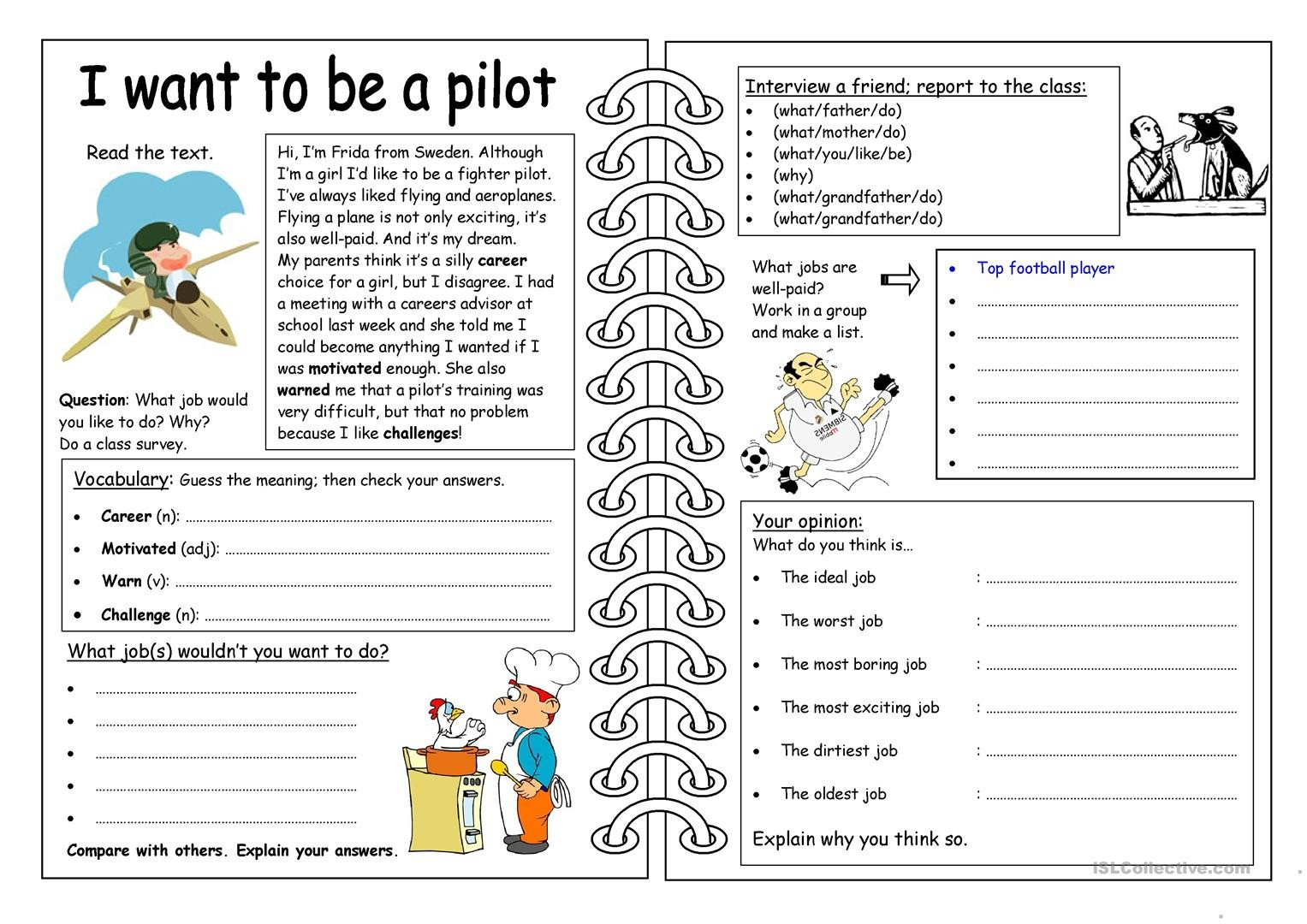 Work Skills Worksheets Four Skills Worksheet I Want to Be A Pilot English Esl