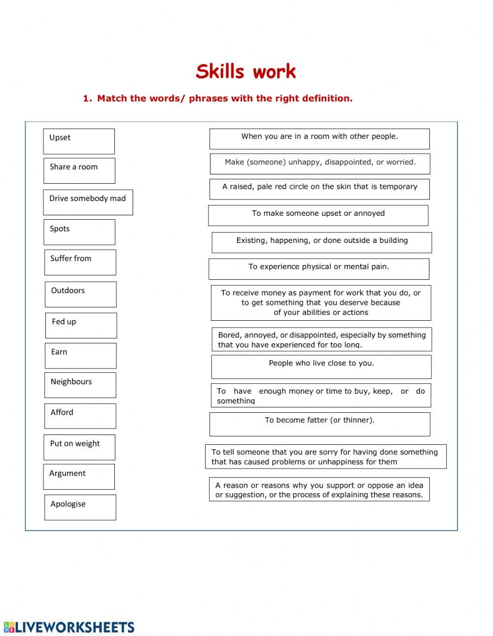 Work Skills Worksheets Skills Work Interactive Worksheet