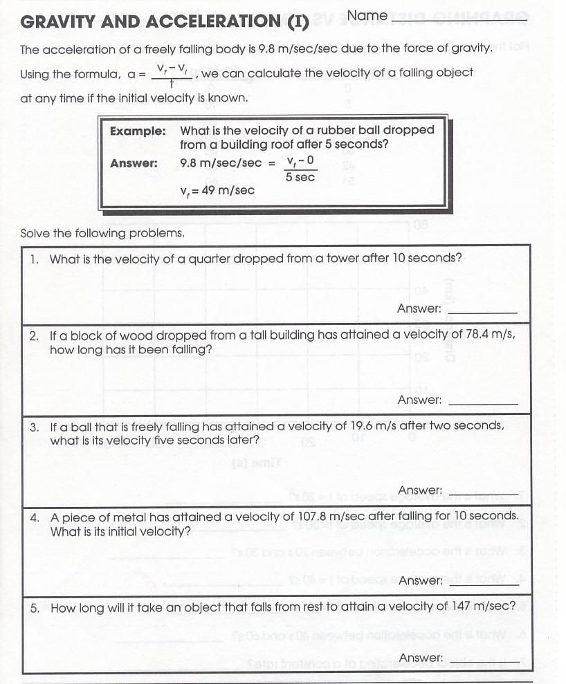 Worksheets On force and Motion 30 Motion Acceleration and forces Worksheet Worksheet
