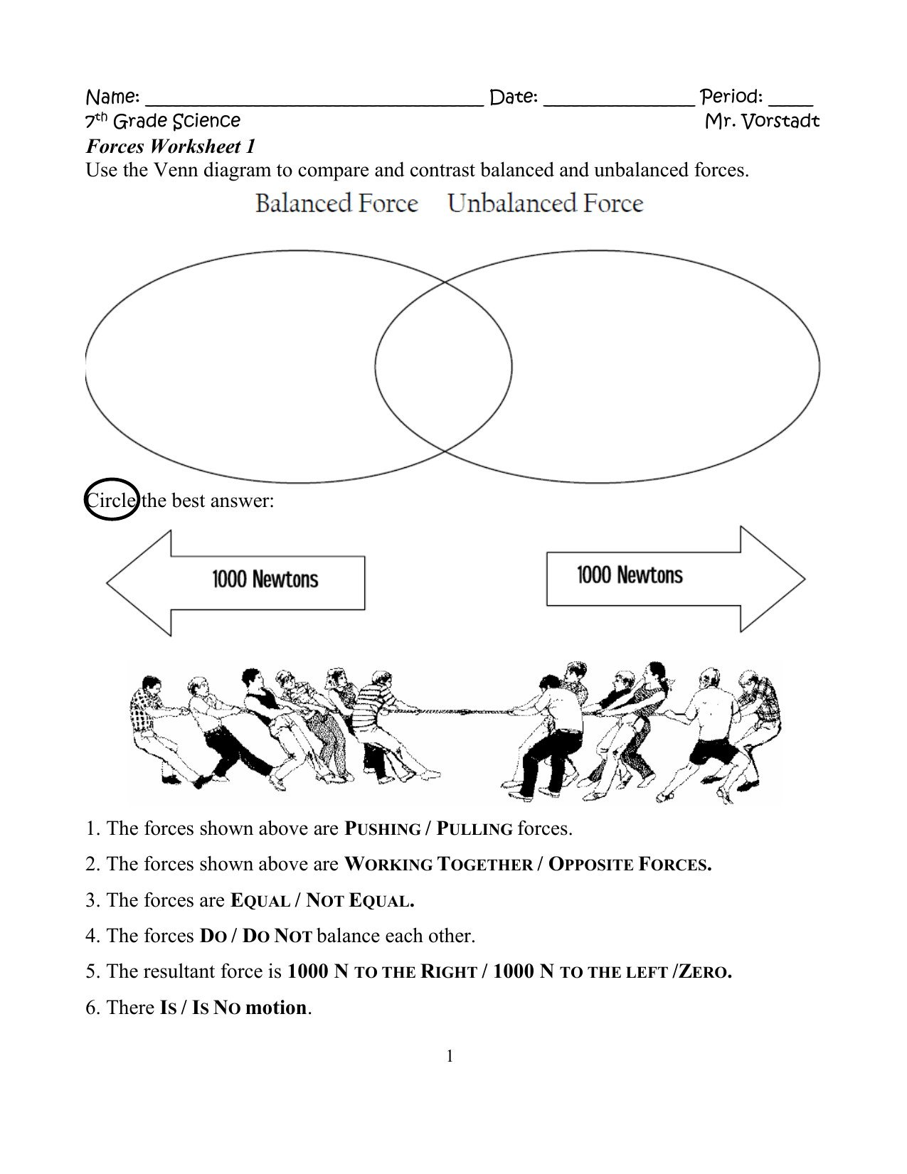 Worksheets On force and Motion Contact and Non Contact forces Worksheet