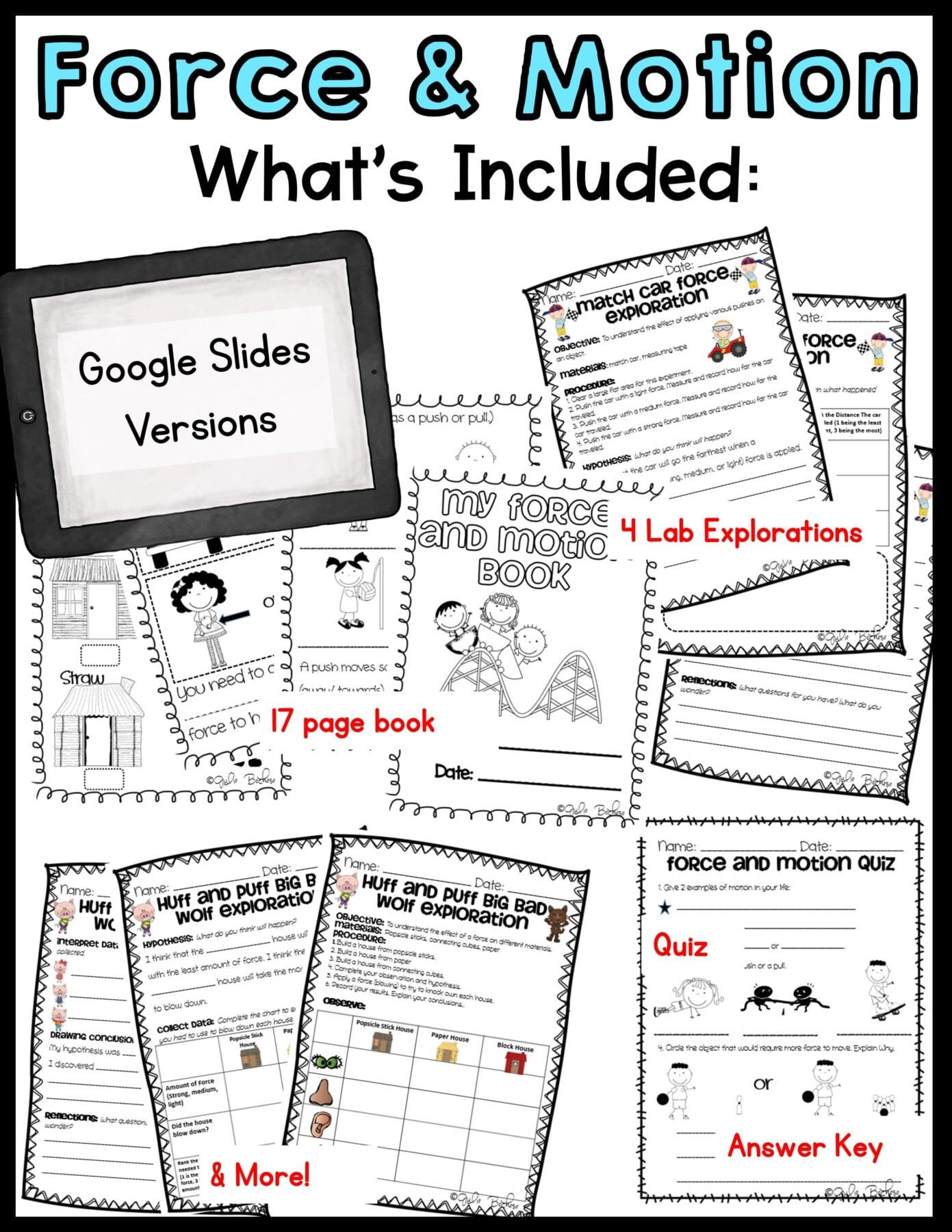 Worksheets On force and Motion force and Motion – 1st and 2nd Grade – Printable & Digital