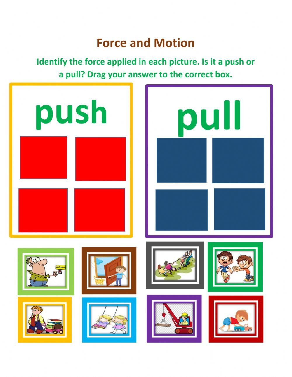 Worksheets On force and Motion force and Motion 2 Interactive Worksheet