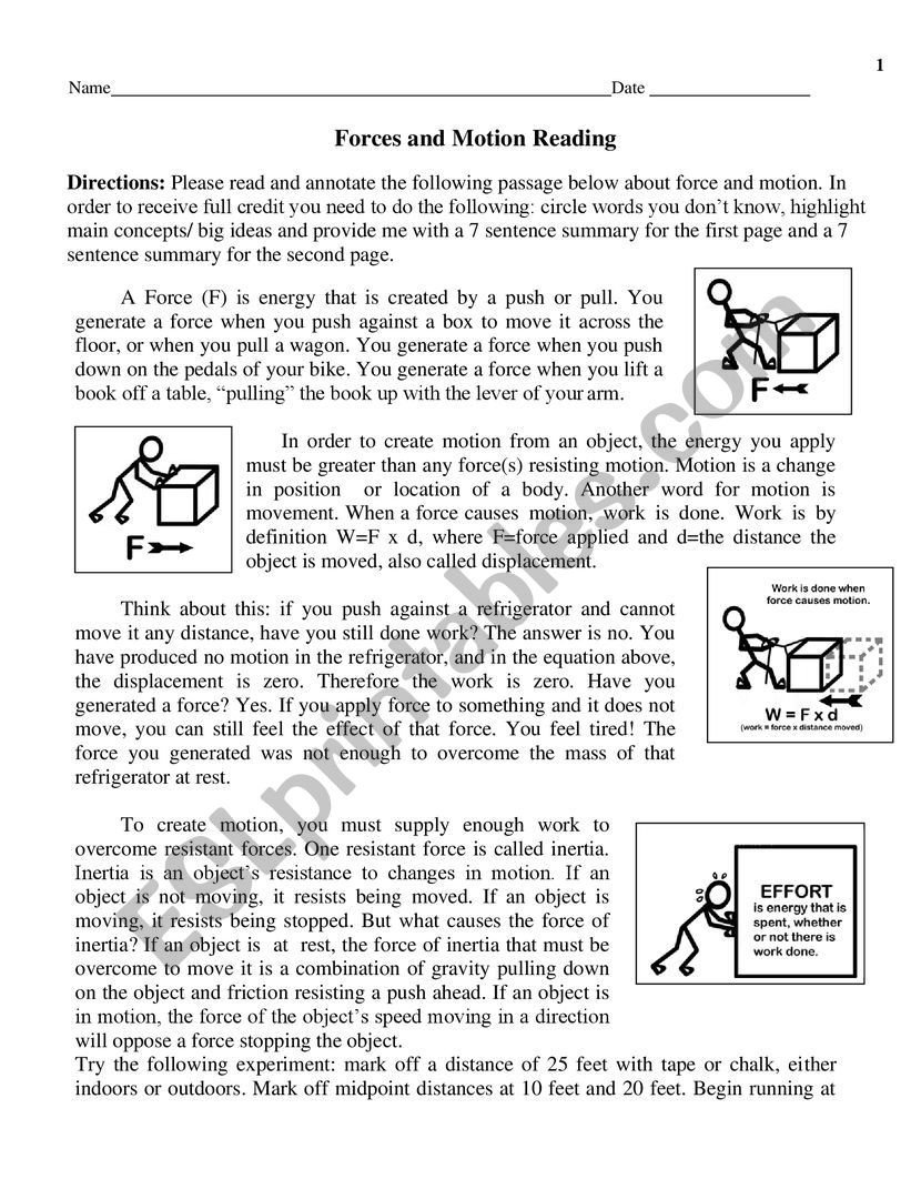 Worksheets On force and Motion force and Motion Esl Worksheet by Tesm