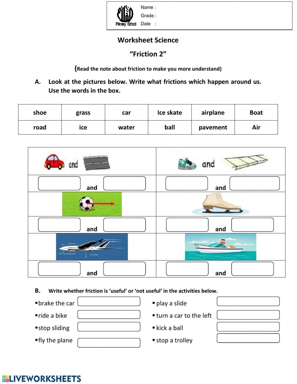 Worksheets On force and Motion Worksheet Science Friction 2 Interactive Worksheet
