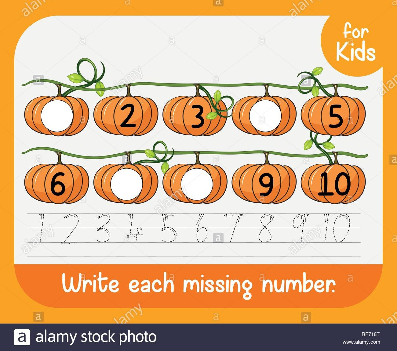 Write the Missing Numbers Worksheet Write Each Missing Number Worksheet Illustration Stock