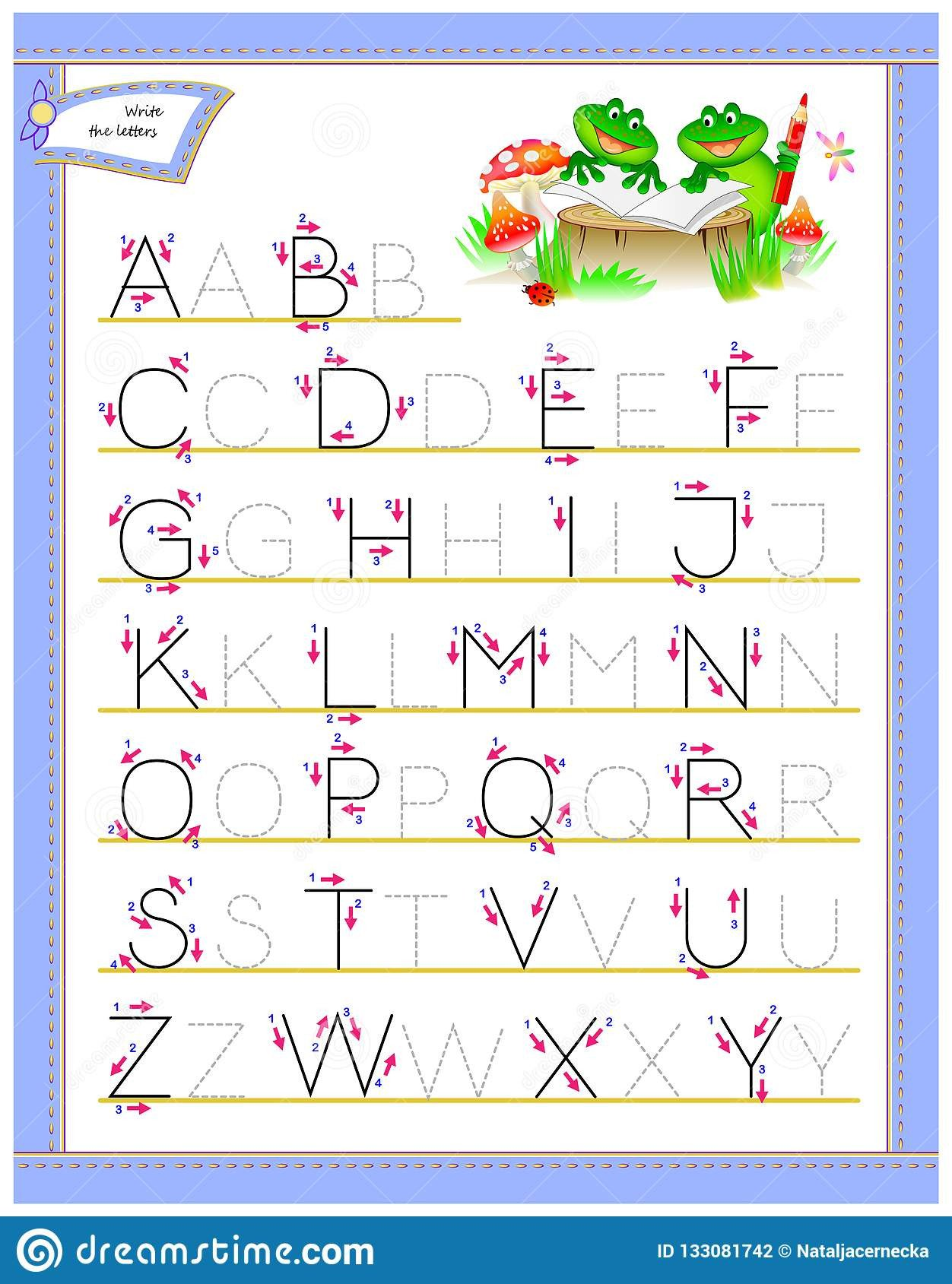 vector image developing children skills drawing coloring scale to any size loss resolution tracing abc letters