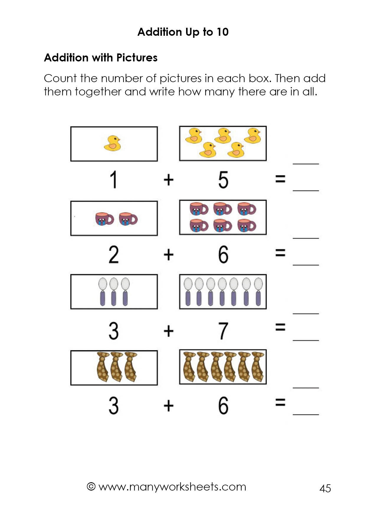 Adding 1 Worksheets Kindergarten Addition 10 Worksheet – Adding and Writing Numbers