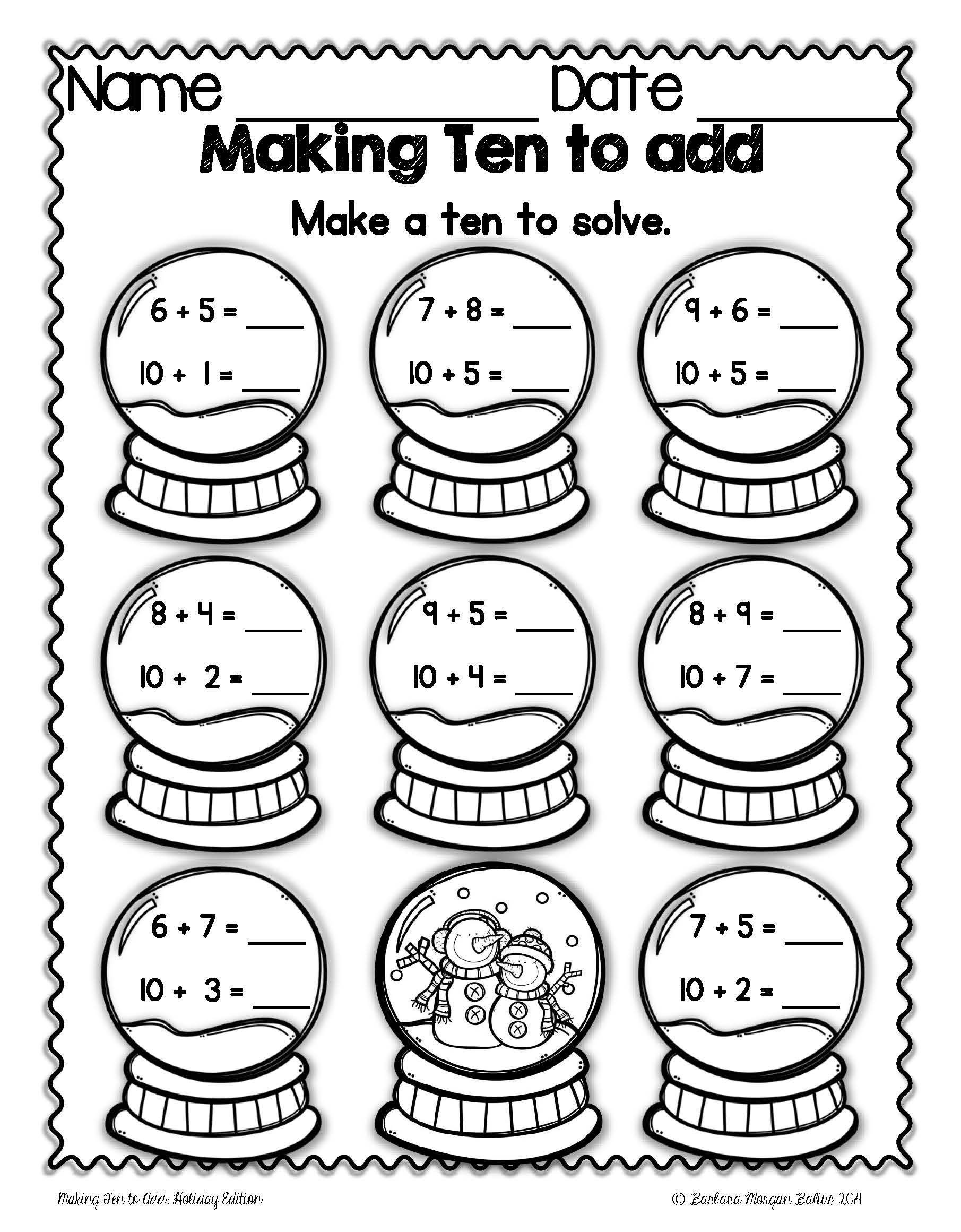 "Adding 1 Worksheets Kindergarten Students ""make Ten"" by Breaking Apart A Smaller Number and"