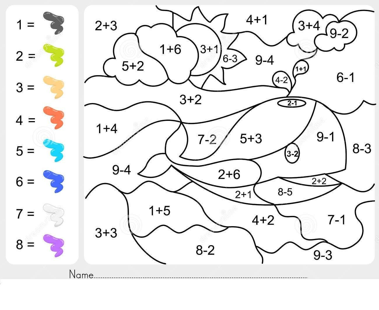 addition coloring worksheets freer first grade printable fun digit
