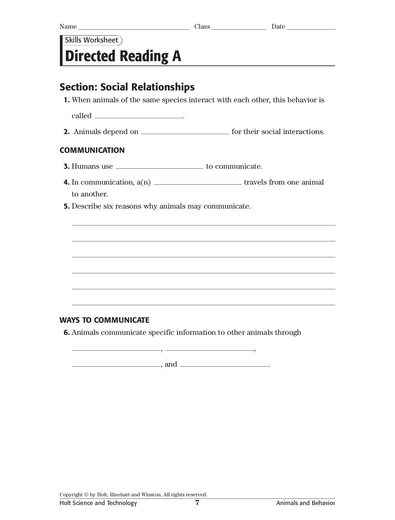 Animal Behavior Worksheet Answers Skills Worksheet Directed Reading A Pc Mac Pages 1 3